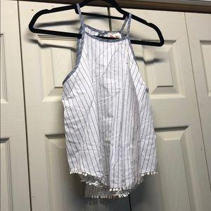 Girls linen pinstripe tank